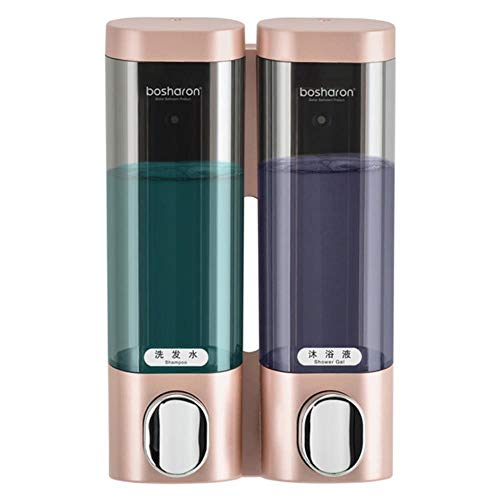Zeepdispenser Wandmontage Handmatig 3-kamer kunststof 300 ml Transparant Wit Badkamer Shampoo Dispenser voor douche Hotelkeuken, Rose goud dubbel
