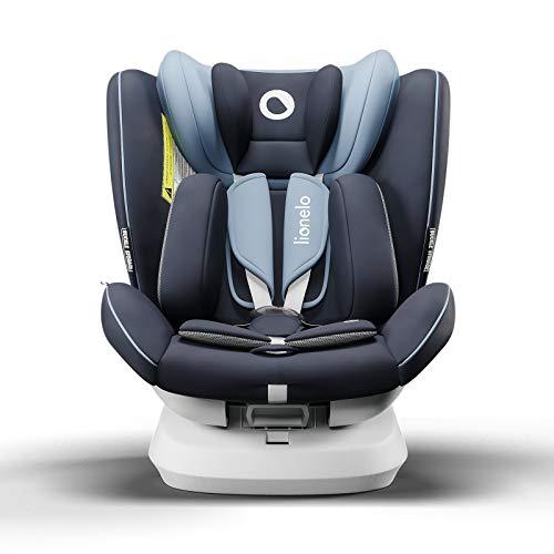 Lionelo Bastiaan One silla de coche bebe desde el nacimiento hasta los 36 kg giratoria a 360 grados Isofix Top Tether cinturón de seguridad de 5-puntos (Azul)