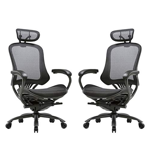 CLATINA Ergonomic High Mesh Swivel Executive Chair with Adjustable Height Head Arm Rest and Lumbar Support Back for Home Office 2 Pack