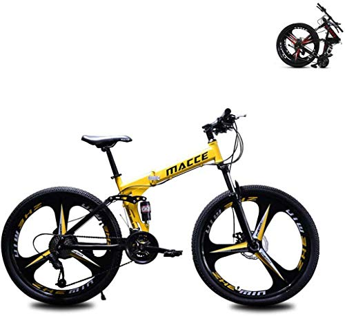 Y&XF Bicicleta De Montaña para Adultos, 26 Pulgadas, 27 Velocidades, Doble Freno De Disco, Bicicleta para Estudiantes, Bicicleta Plegable De Asalto,Amarillo