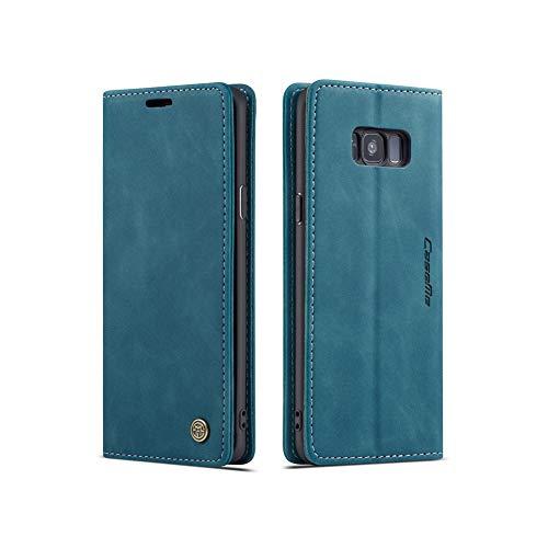 UEEBAI Handyhülle für Samsung Galaxy S7 Edge, Retro Matte Handyhülle PU Fallschutz Lederhülle Weich TPU Klapphülle mit Kartenfach Standfunktion Magnetverschluss Flip Hülle Handytasche - Blau