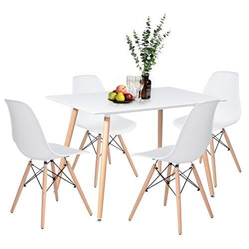 H.J WeDoo Essgruppe mit 4 Esszimmerstühle für Esszimmer Küche Wohnzimmer, Weiß Esstisch und Stühle