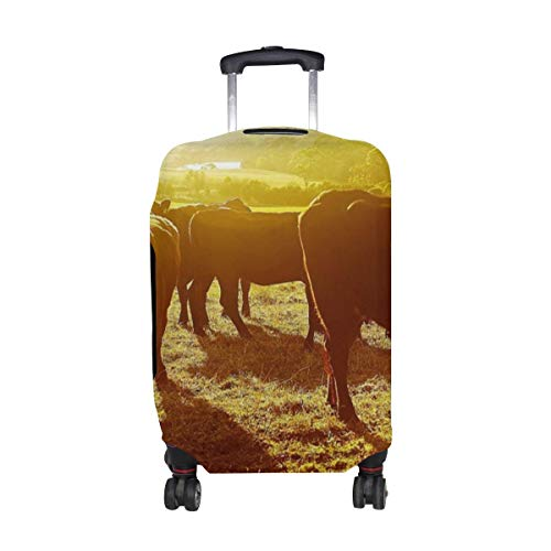 Cows Sunset Pasture Pattern Print Travel Luggage Protector Baggage Suitcase Cover Fits 18-21 Inch Luggage