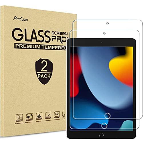 [2 Stück] ProCase Schutzglas Displayschutzfolie für iPad 10.2 Zoll 2021 9th /2020 8th /2019 7th Gen, Displayfolie Schutzfolio Screen Protector Glas–Klar