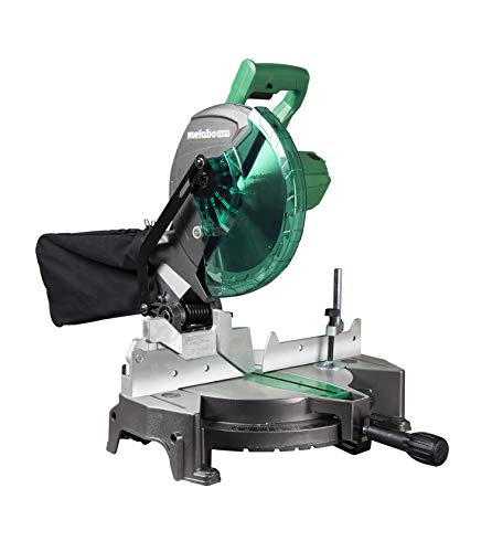 Metabo HPT C10FCGS Compound Miter Saw, 10-Inch, Single Bevel, 15-Amp Motor, 0-52° Miter Angle Range, 0-45° Bevel Range, Large Table, 10' 24T TCT Miter Saw Blade