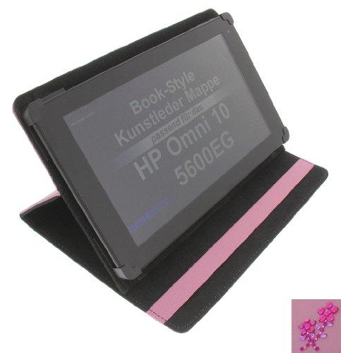 foto-kontor Tasche Strass Blume für HP Omni 10 5600EG Book Style Schutz Hülle Buch pink
