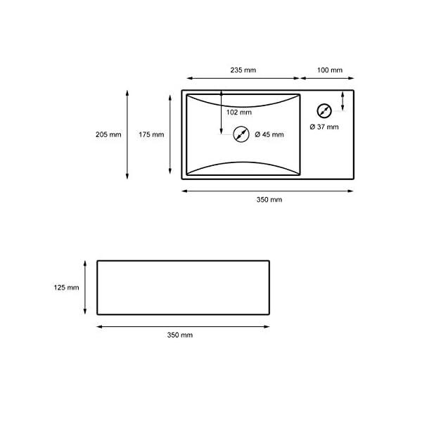 ECD Germany Lavabo Ovalado cerámica – lavadero Blanco – Aseo lavamanos sobre encimera – 335 x 255 x 130 mm- diseño Moderno – La válvula de desagüe Pop-up ¼, de latón Cromado