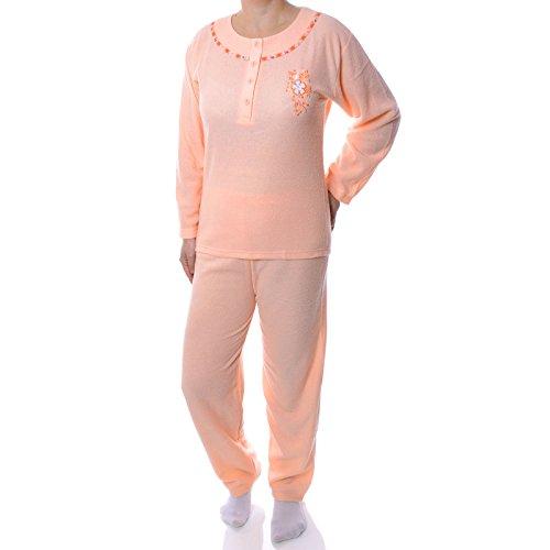 BEZLIT Damen 2 Teiliger Pyjama Schlafanzug Hose Pullover Nachtwäsche Nachthemd 21576 Orange M