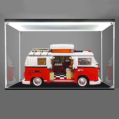 iCUANUTY Acryl Vitrine mit Licht für Lego 10220 - VW T1 Campingbus, Staubdichte Vitrine für Modelle Sammlerstücke (Nur Vitrine)