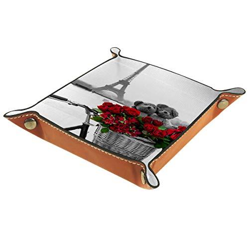 Helvoon - Bandeja organizadora de piel con diseño de torre Eiffel de París con bicicleta de rosas para mesilla de noche, almacenamiento para llaves, teléfono, monedas, caramelos, portafolios, relojes, café