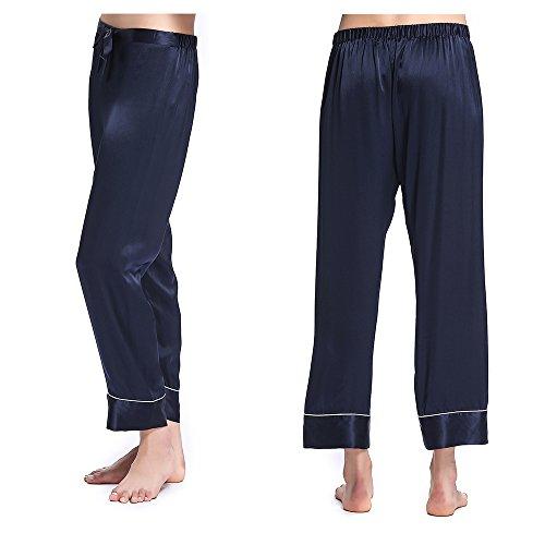 LilySilk Chic Seide Pyjama Schlafanzug Hose Seidenhosen Nachtwäsche von 22 Momme Navy Blau M Verpackung MEHRWEG