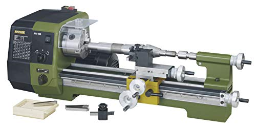 Proxxon Präzisionsdrehmaschine PD 400 (870 W, Motordrehzahl 1400/2800 /min, für Links-+ Rechtsgewinde, Drehmaschine mit Wechselräder) 24400