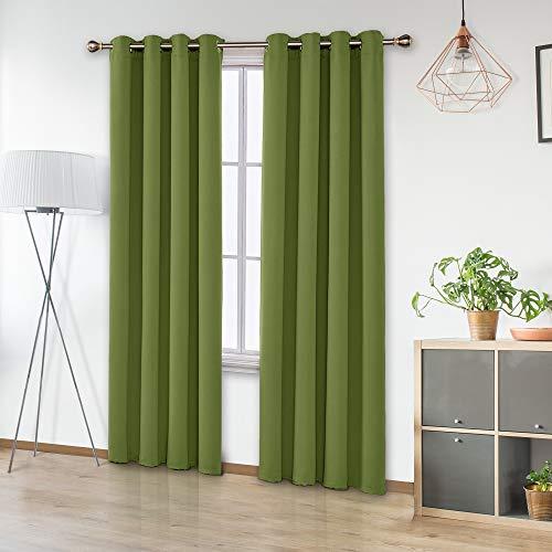 Amazon Brand – Umi Cortinas Habitación Opacas de Decoración para Salón Dormitorio Moderno Suaves 2 Piezas con Ojales 140 x 245 cm Verde