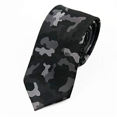 Wangwang454 Männer Koreanische Version Der Schmalen Version Der Kleinen Krawatte Kleid Business Persönlichkeit Casual Student Camouflage Krawatte, Schwarz Grau