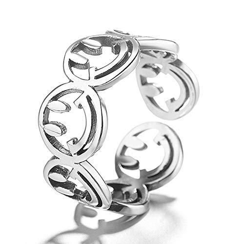 Damen 925 Sterling Silber Ring, Retro Smiley Gravur Ausschnitt Mode Einfache Öffnung Verstellbar Paar Ring Männlich Weiblich, Urlaub Geschenk Jahrestag Hochzeit Engagement Engagement Brautschmuck