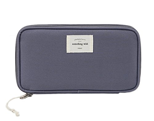 iSuperb Astuccio Portatile Porta Passaporto Impermeabile Pencil Case Portafoglio da Viaggio 21.5×11.5 cm (Grigio scuro)