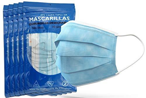 5 Sobres de Mascarillas Quirúrgicas Homologadas Desechables, no Reutilizables Tipo IIR; médicas homologadas, Certificado EN14683, Alta eficiencia filtración bacteriana 99,8%, Talla Unica, 50 U.