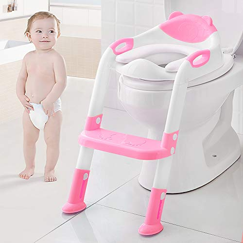 Kids Potty Training Seat Toddler Toilet Seat with Step Stool Ladder, Potty Training Toilet for Kids Boys Girls Toddlers-Comfortable Safe Potty Seat Potty Chair with Anti-Slip Pads Ladder Rose Red