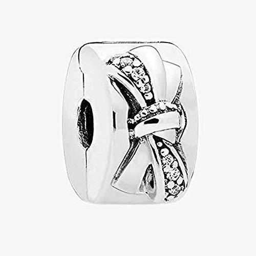 PANDOCCI 2018 Madre Día Regalos Brillante Boquilla Clip, Clip, Claro CZBead 925 Plata DIY se adapta para Original Pandora pulseras encanto moda joyas