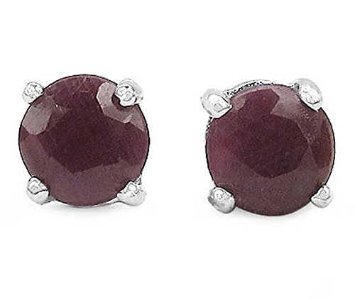 2.10ctw Genuine Ruby 6mm Round & Solid .925 Sterling Silver Stud Earrings