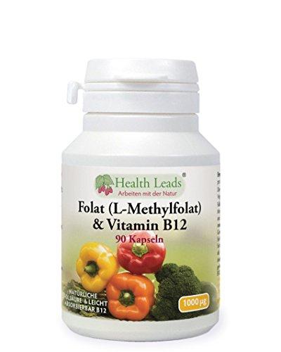 Folat und Vitamin B12 x 90 Kapseln (Ohne Magnesiumstearat)