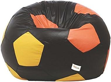 Sattva Football XXXL Bean Bag Cover (Without Beans) Dual Colour - Black Orange Yellow