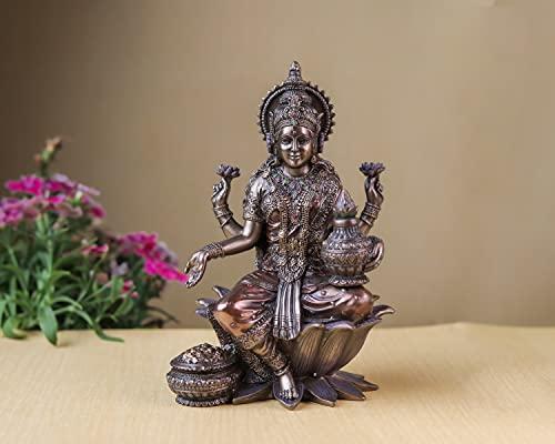 Estatua de la diosa Lakshmi, estatua de Laxmi, diosa hindú del dinero, riqueza, abundancia, fertilidad y prosperidad. artes indias, 7.25 pulgadas