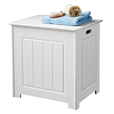 New Storage Chest Cabinet White Wood Basket Laundry Bin