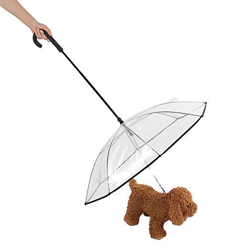 Paraguas para mascotas Transparente Impermeable Paraguas para perros con correa Ensamblar suministros para mascotas a prueba de lluvia al aire libre para días lluviosos y nevados(Transparente)
