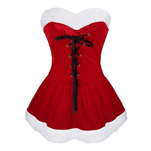 iixpin Vestido de Navidad para Mujer Vestido de Terciopelo con Cordones-Sombrero-Micro Tanga Traje de Mamá Noel Rojo Talla Única