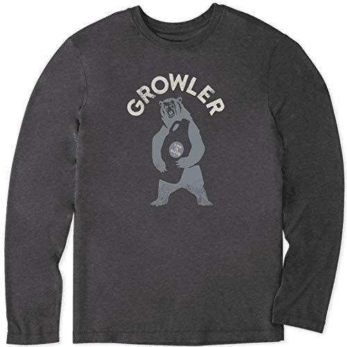 Life is Good Camiseta masculina de manga comprida com estampa de mistura de algodão, Growler,night Black, Small