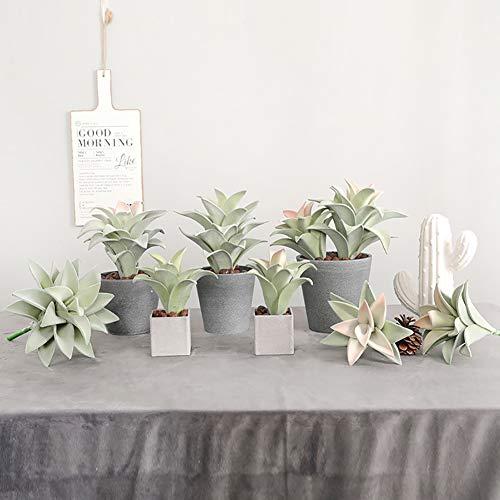prettDliJUN Artificial Plants Desk Fake Succulents Indoor Decor Mini Artificial Plant Bonsai Fake Pineapple Leaf Balcony Desktop Decor - with No Pot Green+Pink Medium