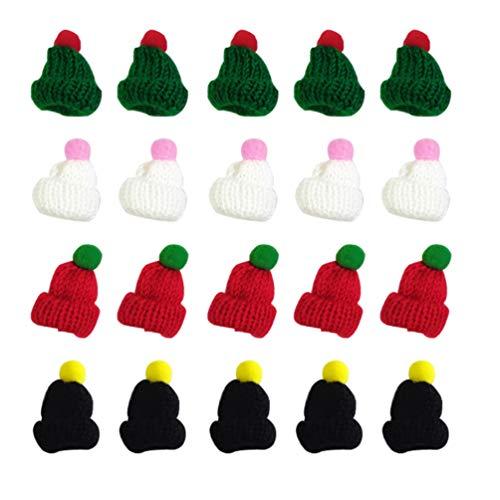 VALICLUD 20 Pezzi Mini Cappello di Natale a Maglia per per Albero Decorazione di NataleBottiglia di argenteria Tazza