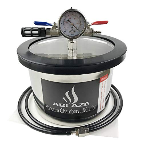 ABLAZE 1 Gallon Gal Vacuum Chamber Stainless Steel Degassing Urethanes Silicone Epoxies Lid Kit