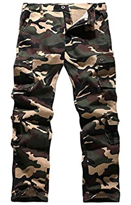 BOJIN Men's Cargo Pants Casual Military Army Camo Relaxed Fit Cotton Combat Camouflage Work with Pockets - Military Yellow 36