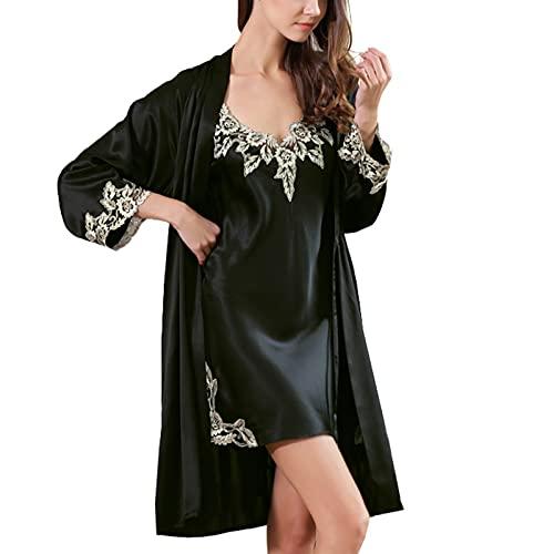 LZJDS Camisón Sexy Mujer Elegante Seda Real Albornoz de Dormir Conjunto de Kimono Batas Vestidos de Dormir de Dos Piezas,Negro,XL