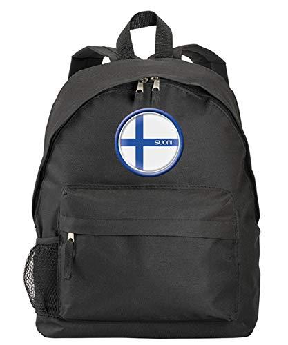 Suomi Finnland Schwarzer Rucksack mit Flagge und Wappen aus Synthetik mit Reißverschlusstaschen und Trägern