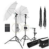 LimoStudio, LMS103, Soft Lighting Umbrella Kit, Day Light Color, 700 Watt Output Lighting with Tripod Stands and Carry Bag