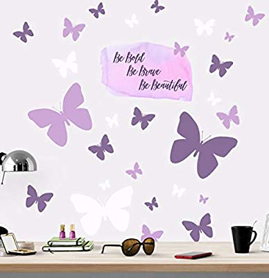 Create-A-Mural Be Bold, Be Brave, Be Beautiful Butterfly Girls Wall Decals Wall Art Stickers for Bedroom Peel and Stick Kids Room Decor Nursery Toddler Teen Decorations Playroom Birthday Gift