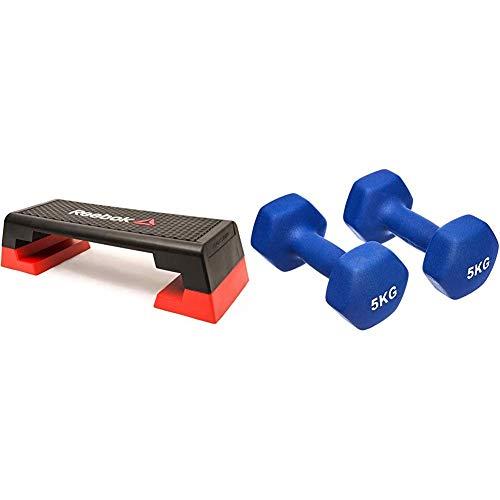 Reebok Step Steppbrett Schwarz/Rot, 102 x 38.5 x 25 & AmazonBasics Neopren Hanteln Gewichte, Blau, (2er-Set), 2 x 5Kg