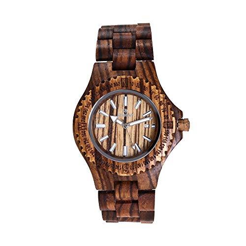 Beobachten WHQ Hölzerne minimalistische Uhr, handgemachte Vintage Quarzuhr, natürliche Ahornholz Sandale Uhr romantisch, gesund, umweltfreundlich, Paar Uhr QD (Color : Zebra Wood)