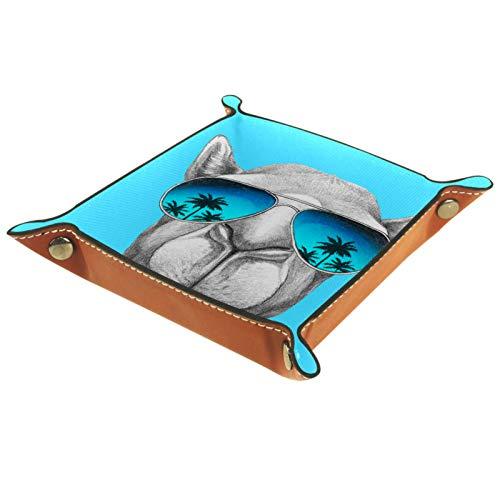 Yuzheng Gafas de Sol para Perros Bandeja de cajones Escritorio Papelería Artículos Diversos Gadget Organizador de Cuero Plegable Caja de Almacenamiento Contenedor de Llaves 20.5x20.5cm