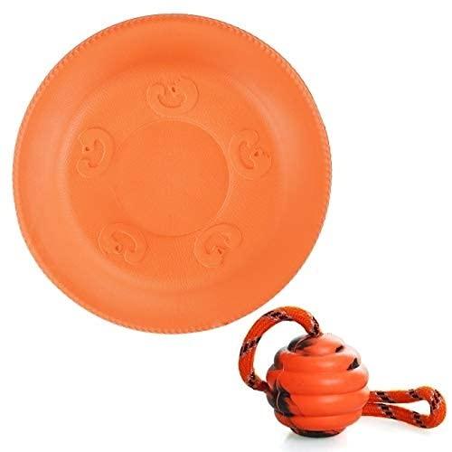 VIKEDI Hund Frisbee und Hundeball, Perfektes Training Hundespielzeug Set, Hunde Scheibe Soft Rubber Disc, Natürlicher Gummiball mit Seil, Interaktive Outdoor Schwimmend Übungs Spielzeug für Hunde