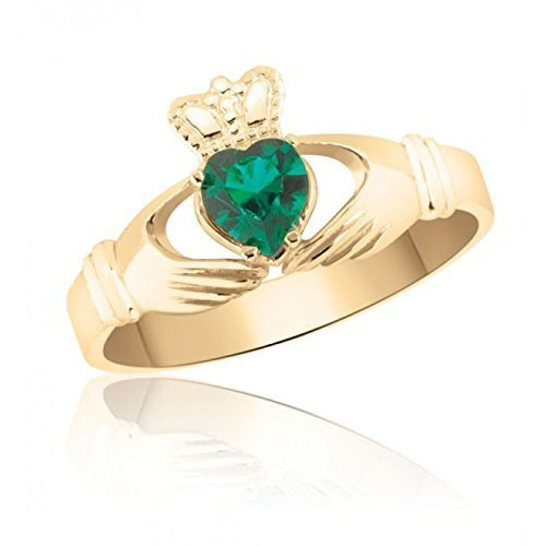 10K Yellow Gold Emerald Green Celtic Claddagh Ring – Friendship Love and Loyalty - Marriage – Engagement – Irish - English