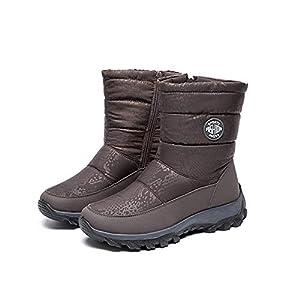 [リンゼ] 防寒 ウインターブーツ 5.5センチヒール レディース ブーツ あったか スリッポン 軽い 快適 痛くない 厚底 歩きやすい コットンブーツ 滑らない スノーブーツ こむぎいろ 防寒ブーツ 可愛い おしゃれ 23.0cm 雪仕様 スキーブーツ 3色展開