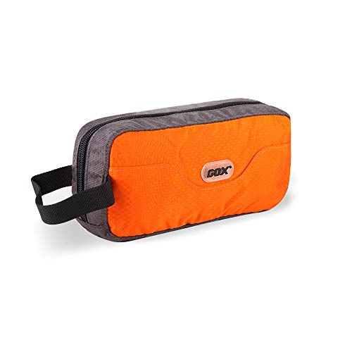 GOX Premium Toiletry Bag, Dopp Kit Case For Travel, Multifunction Cosmetics Organizer Pouch(Orange/Grey)