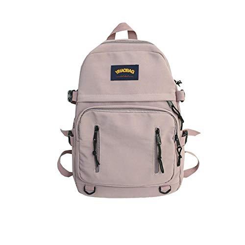 Backpack Bag Fashion Women Backpack Multi-Pocket Nylon Backpack High Capacity School Bag For Teenage Girls Female Shoulder Travel Bag 30Cmx13Cmx42Cm Pink