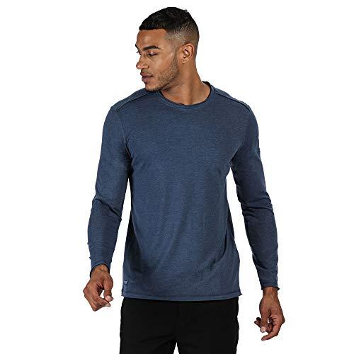 Regatta T- Shirt Manches Longues en Coton Organique écologique Karter II Polos/Vests Homme, Dark Denim, FR : M (Taille Fabricant : M)
