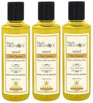 Glamorous Hub Khadi Organique Limpiador de cabello con miel y jugo de limón (champú), paquete de 3 (el paquete puede variar)
