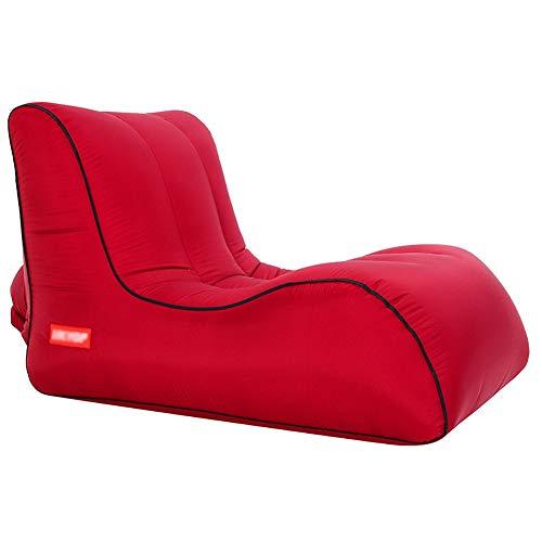 MIMI KING Folding Air-Sofa-Stuhl aufblasbar und bewegliche Luft Sofa mit Tragetasche für Garten Außen Reise Strand Camping Picknick oder Innenmöbel,Burgundy,S